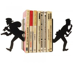 Gendarme and thief small pair of bookends